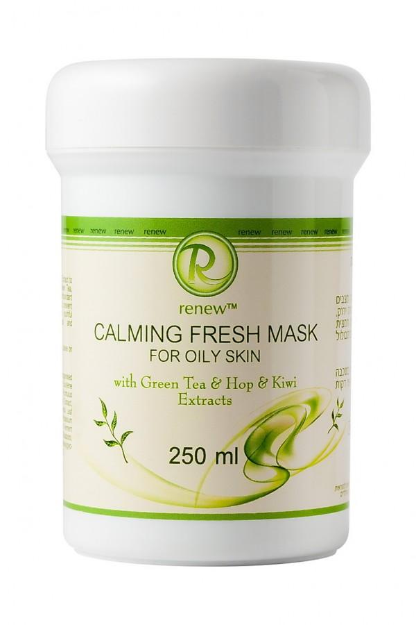 Успокаивающая и освежающая маска для жирной кожи с экстрактами зелёного чая шишек хмеля и киви RENEW